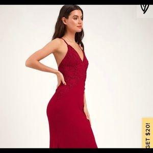 Red Lulus Crochet Maxi Dress sz4